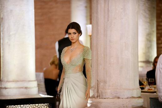 Beren Saat in a low-neck dress in intikam(Revenge)