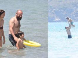 Berguzar Korel and Halit Ergenç in holiday with their son Ali Ergenç