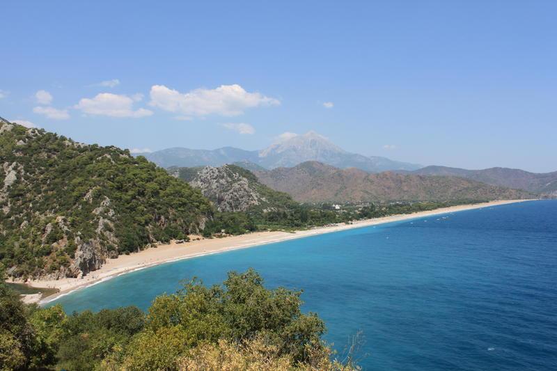 Olympos Beach, Mount Olympos on background