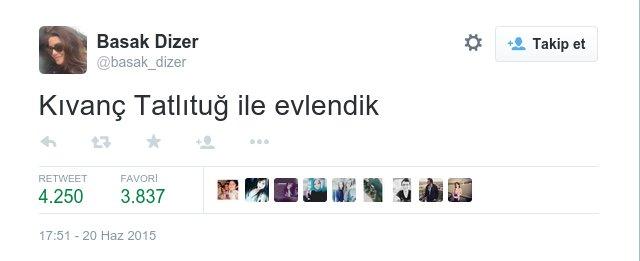 ''Kıvanç Tatlıtuğ and i got married' tweeted Başak Dizer