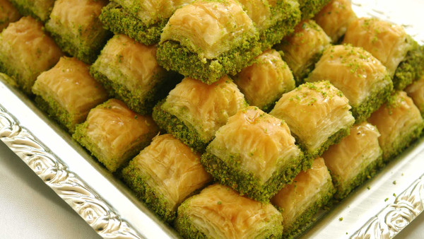 Traditional Baklava stuffed with pistachio
