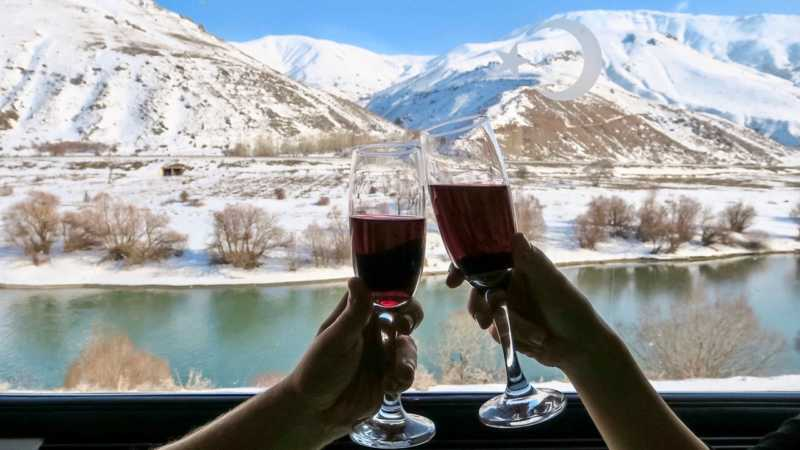 The trip with The Eastern Express takes about 24 hours and you can drink delicous wines with a great view