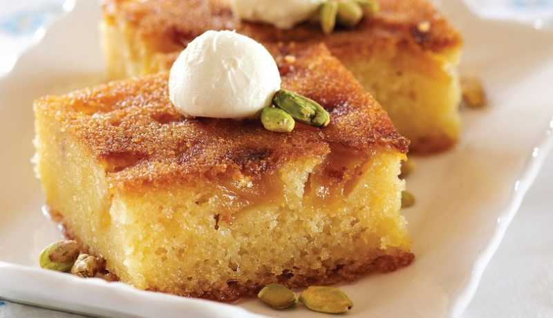 Turkish Revani - A deliciously moist semolina cake is a very delicious Turkish dessert.
