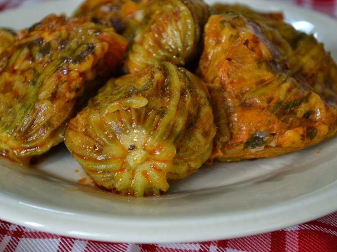 Stuffed zucchini flower is mostly common in the Aegean region of Turkey.