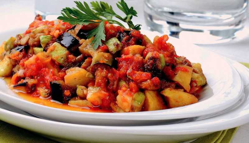 Turkish delicious flavour Şakşuka is a vegetarian medley of eggplant and zucchini squash.