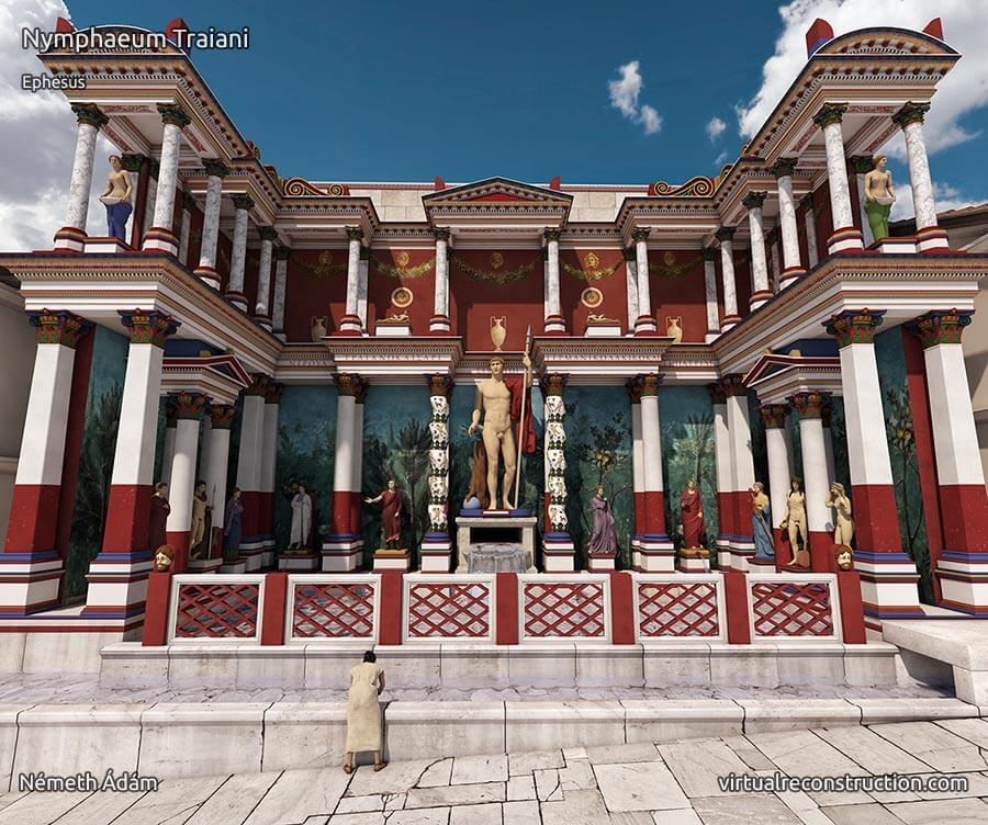 3D animation of Ephesus: Nymphaeum Traiani then