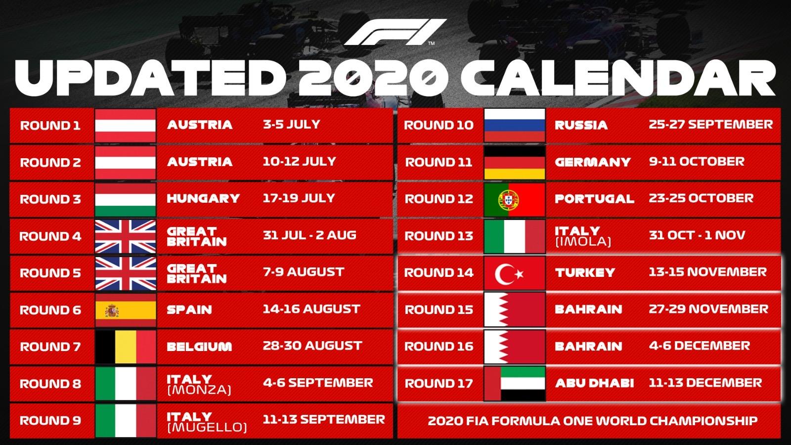 2020 FIA Formula One World Championship Calendar (Image Credit-Bleachernews)