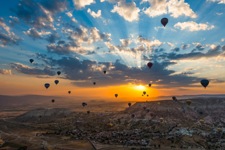 Hot-Air Balloon Begin to Fly Again on The Sky of Cappadocia