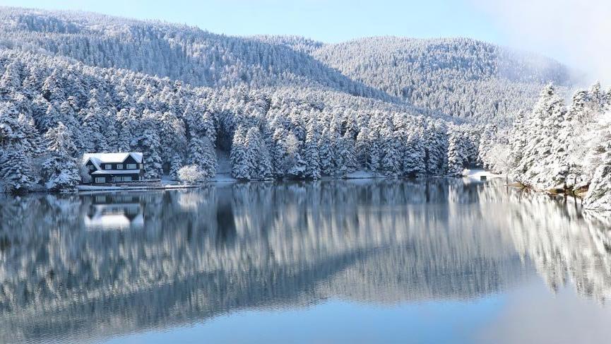 A winter view of Bolu Golcuk Nature Park