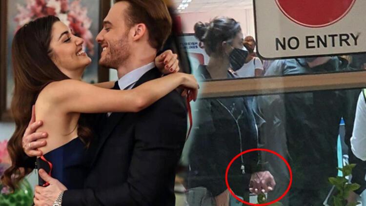Kerem Bürsin and Hande Erçel were seen hand in hand at the airport