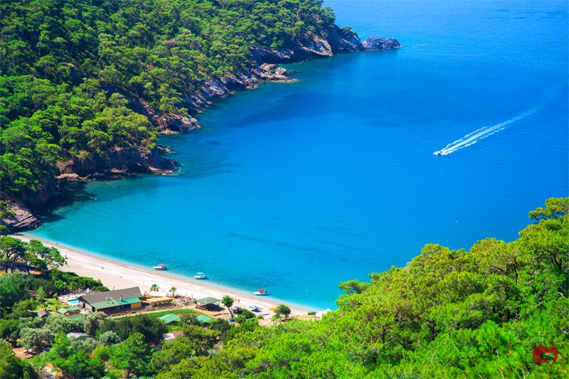 Aerial view of Kabak beach in Turkey