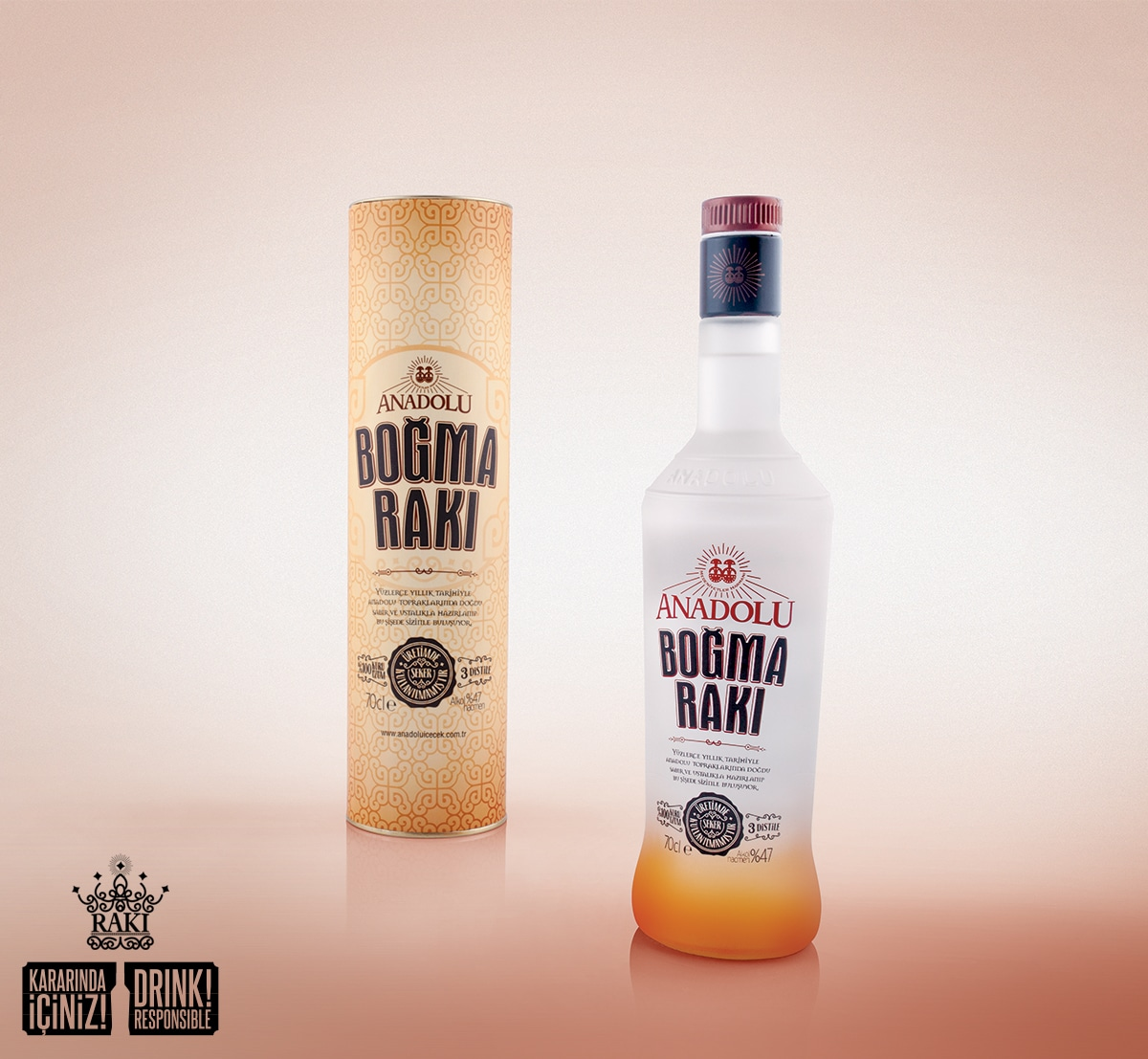 Anadolu Boğma Raki contains 37% alcohol by volume
